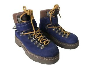 Womens Leather Suede Blue Chunky Hiking Boots Uk4 EU37 Winter Boots Dog Walking