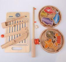 Children's Kids Pretend Play Kitchen Wooden Cutting Fishing Set! Cooking Toys!