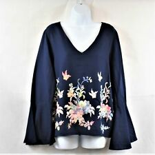 Karen Kane Womens XL Newport Navy Embroidered Blouse With Bell Sleeves New W/Tag