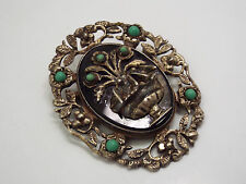 Vtg Mexico Sterling Silver Urn Flowers Birds on Black Onyx w/ Turquoise Brooch