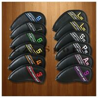 12PCS Black LH Left Hand Golf Iron Headcover Covers For Titleist Taylormade Ping