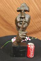 Signed Salvador Dali Abstract Man Hush Up Bronze Sculpture Modern Art Figurine