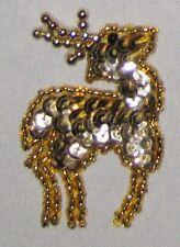 "Decorative Fancy Craft 2 1/4"" Bead Sequin Goldtone Deer Patch"
