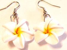 BOUCLES D'OREILLES FLEUR ETHNIQUE FLOWER EARRINGS blanc white blanche