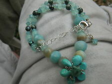 """Solid 925 Sterling silver Aquamarine Beads Turquoise Necklace 16-18.5"""" 36g"""