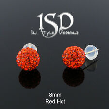 14k Yellow Gold Womens 8mm Red Hot Austrian Crystal Disco Ball Studs Earrings