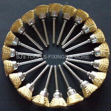 20 BRASS WIRE CUP BRUSHES  DREMEL ACCESSORIES ROTARY HOBBY MULTI TOOL