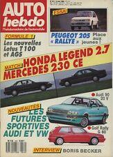 AUTO HEBDO n°614 du 2 Mars 1988 205 RALLYE HONDA LEGEND MERCEDES 280CE