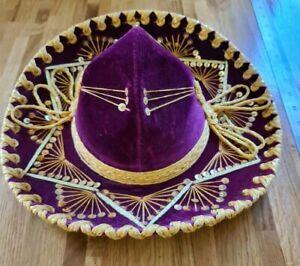 Vintage Purple Pigalle Mexican Sombrero Mariachi Velvet Hat Fancy Dress XXXXXX