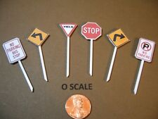 SET B OF 6 O SCALE CUSTOM-MADE STREET SIGNS (STOP, YIELD, TURN, NO PARKNG.), NEW