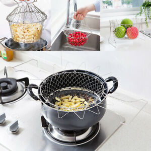 Folding Chip Fryer Basket Fries Pan Stainless Steel Strong Wire Mesh Bucket UK
