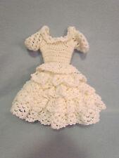 Handmade White Crocheted Baby Doll Dress-up Clothes Wedding Christening Dress-G
