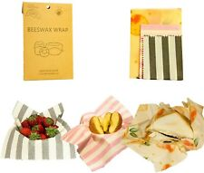 3pc Beeswax Food Cover Wraps, Organic Reusable & Washable
