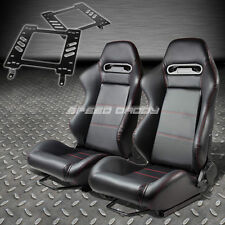 PAIR TYPE-R BLACK PVC RECLINING RACING SEAT+BRACKET FOR 82-92 FIREBIRD TRANS AM