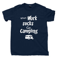 Camping T Shirt Great Outdoors Yellowstone National Park RV Happy Camper Hat Tee