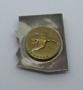 Vintage Arizona Ducks Unlimited Hunters Club Membership Hunting Button Sterling