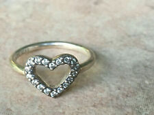PANDORA STERLING SILVER HEART RING SIZE 6