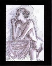 FEMALE NUDE  by Ruth Freeman INK ON  PAPER MOUNTED ON MATBOARD 8 X 10