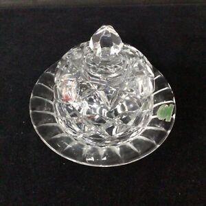 Crystal Cut Glass Czechoslovakian Butter Dish #413