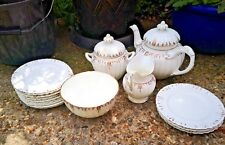 ANTIQUE EARLY VICTORIAN WHITE & GOLD TEAWARE 16 PIECES, TEAPOT, JUG,BOWL,PLATES