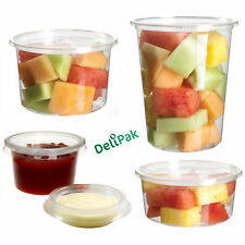 More details for round food containers plastic clear storage tubs with deli pots sauce disposable
