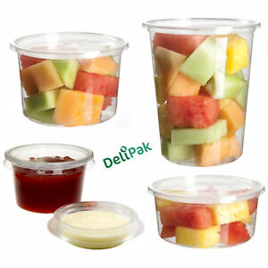 Round Food Containers Plastic Clear Storage Tubs with Deli Pots Sauce Disposable