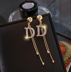 New Fashion Round Rhinestones Drop Stud Fringe Boho Tassel Statement Earrings