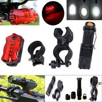 1200Lm Q5 LED Bicycle Flashlight Front Light Torch+Holder+5 LEDs Rear Tail Light