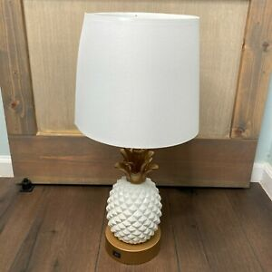 White & Gold Pineapple Touch USB Charging Lamp Light Bedroom Dorm Teen College