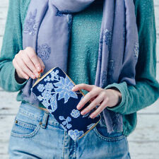 New Ladies Lovely Flower Print Purse in Blue and White  Great Gift Idea