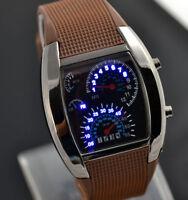 ASAMO Herren Damen LED Digital Armbanduhr mit Silikon Armband Uhr Braun
