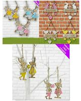 Wooden Hanging Easter Tree Decoration Laser Cut Egg Rabbits Bunny Cute Shabby
