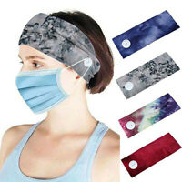 Fashion Sport YOGA Headband with Button Holder Headwrap Turban Elastic Hair Band