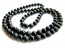 """Men's Necklace Black & Matte Onyx 8mm Natural Gemstone Beaded Jewelry 30"""" Inch"""