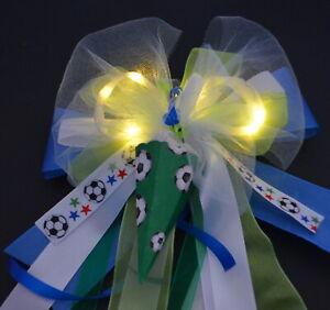 Fussball Schultütenschleife mit LED Licht und Name, Zuckertütenschleife Junge