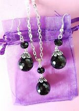 faceted black onyx gemstone with crystal large pendant necklace and earrings set