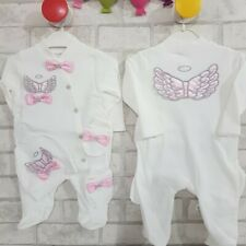 baby girl pin crown romper bodysuit growbag Angel wings gift Clothes Outfit Set
