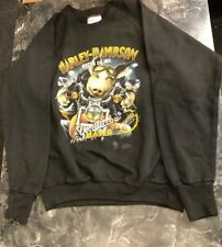 Vintage Sweat Shirt - Harley Davidson Hog Riding Motorcycle Black Size L 1989