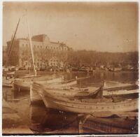 Port Da Cannes? Francia Foto Placca Da Lente Stereo Vintage