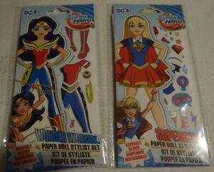 Reusable Clings Paper Dolls Stylist Set NIP Wonder Woman Super Girl