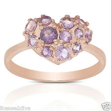 ROSE GOLD OVER STERLING SILVER GENUINE AMETHYST HEART RING NEW SIZE 9 GEMSTONE