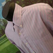 Mens Brooks Brothers Slim Fit Stripe Original Polo Golf Dress Shirt Size Large L