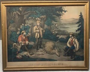 Antique CURRIER & IVES School 'American Hunting Scenes' DOGS & GUNS LITHOGRAPH