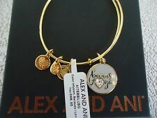 Alex and Ani BECAUSE I LOVE YOU COLOR INFUSION Bangle Gold New W/Tag Card & Box