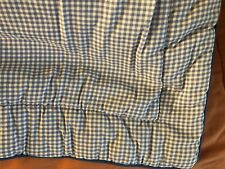 """Euro Square Blue White Checked Quilted Pillow Sham Laura Ashley 28 x 28"""""""