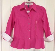LAUREN Ralph Lauren Pink Peony Button Front 3/4 Sleeve Shirt Size 4 Small NEW