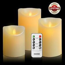 Oshine Led Candles, Flickering Candles, 300 Hour Decorating Pillars, Set Of 3, 1