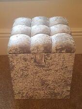 Cube Ottoman in Crush Velvet Fabric with Diamonté Top Quality Bargain Price!!!!
