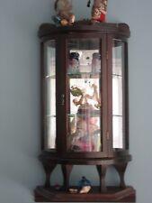 "Antique traveling Salesman sampler curved glass curio cabinet   22 3/4"" high"