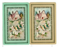 Two Single Vintage Playing Cards Gibson Classique Blue Birds and Cottage